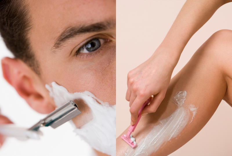 Hair removal by shaving