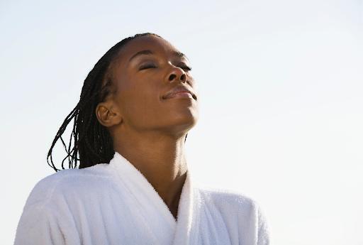 woman enjoying sun